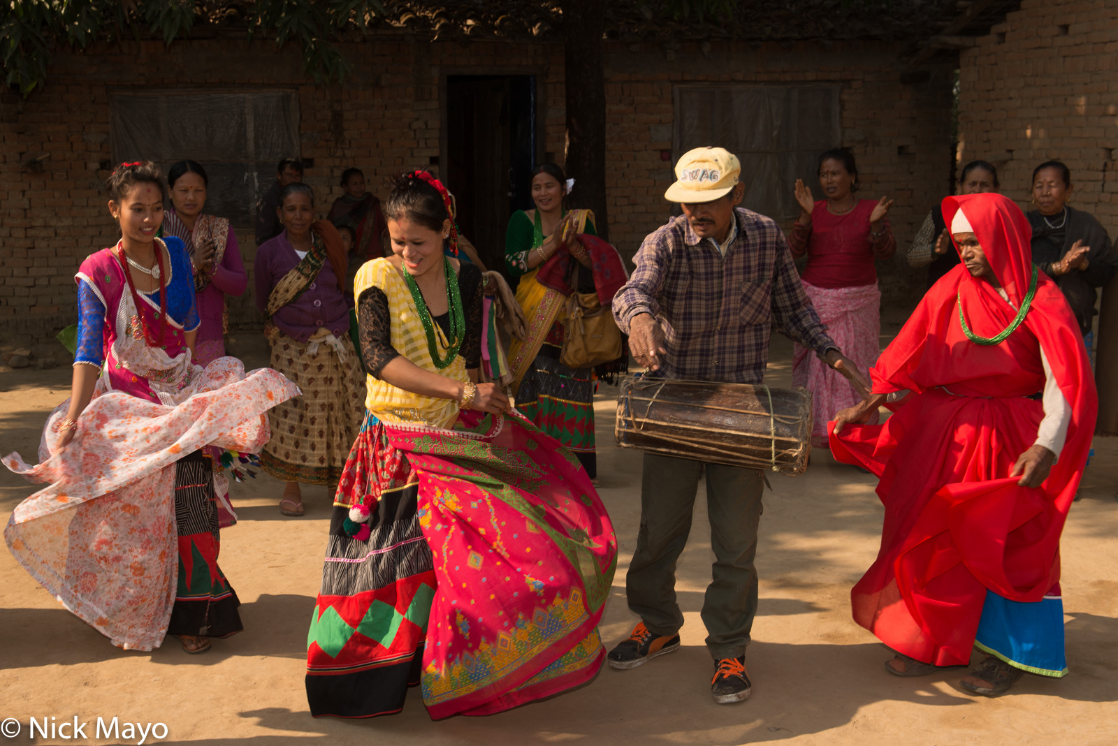 Dancing, Drum, Drumming, Festival, Nepal, Terai, Tharu, photo