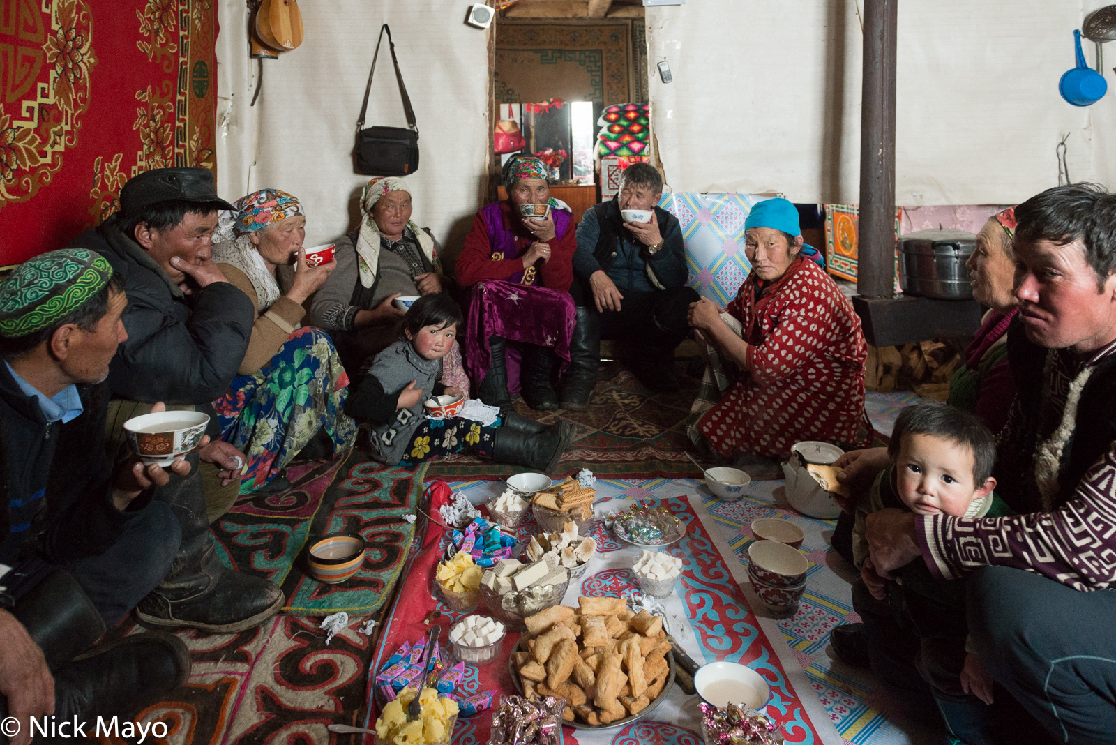 Bayan-Ölgii, Biscuit, Cheese, Drinking, Kazakh, Mongolia, Tea, photo