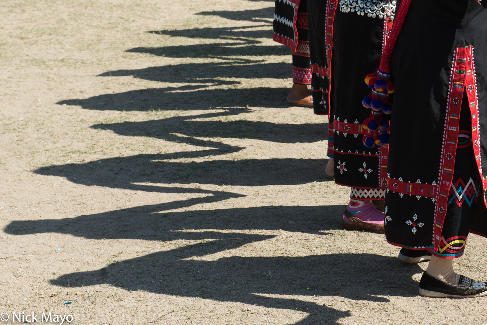 Shadows of dancers at a Lahu New Year festival in Kengtung.