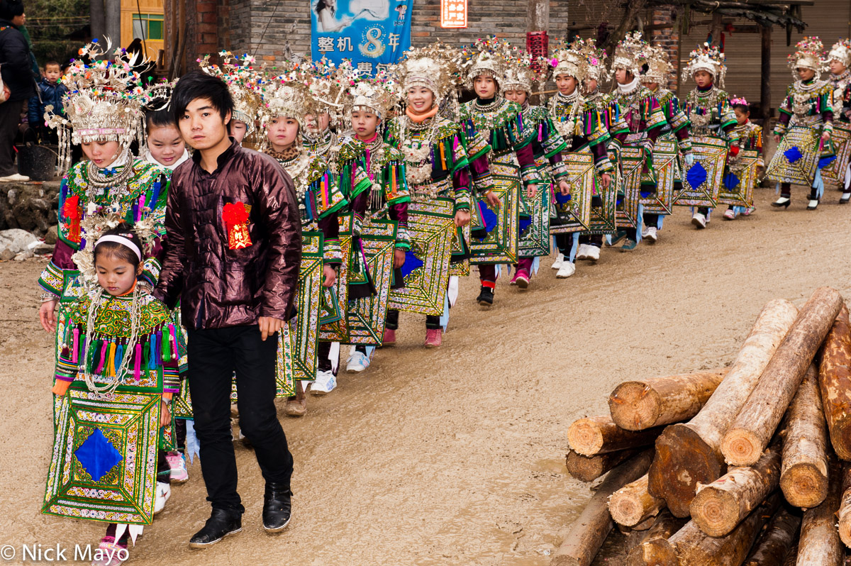 Apron,Breastpiece,China,Column,Dong,Guizhou,Headdress,Necklace,Wedding, photo