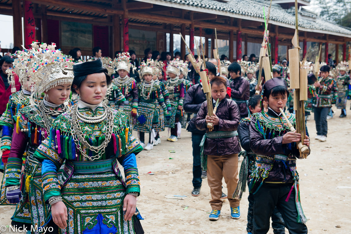 China,Circling,Festival,Guizhou,Hair,Headdress,Miao,Necklace,Piping, photo