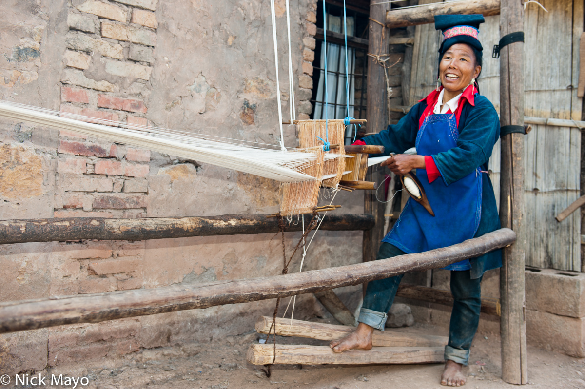 China,Foot Treadle Loom,Hani,Weaving,Yunnan, photo