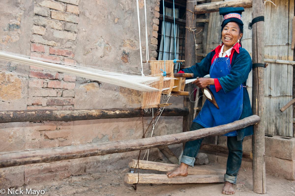 China,Foot Treadle Loom,Hani,Hat,Weaving,Yunnan, photo
