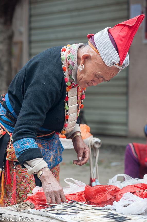 Bracelet,Breastpiece,China,Earring,Hat,Market,Yao,Yunnan, photo
