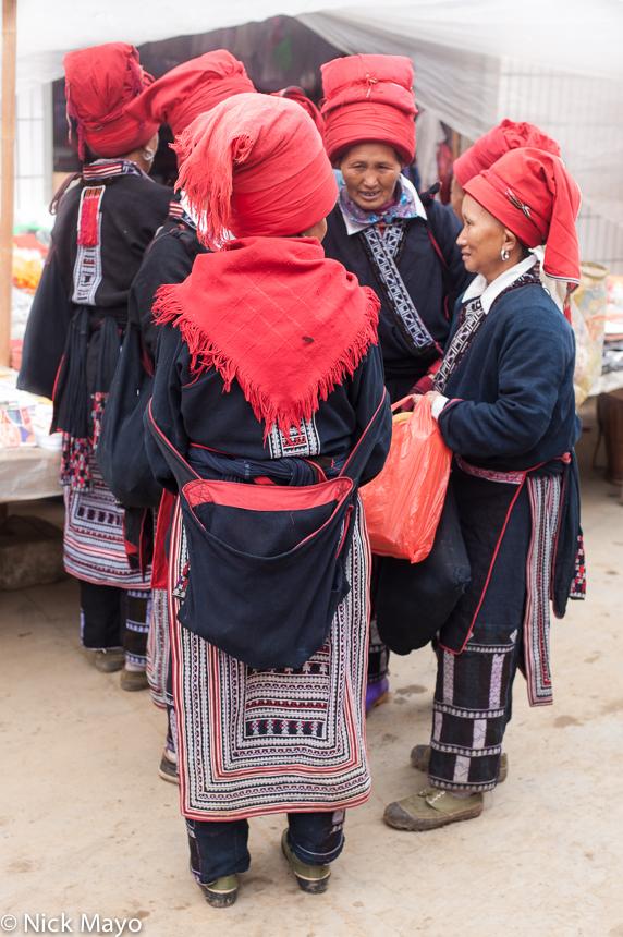 China,Cloth Backpiece,Hat,Market,Yao,Yunnan, photo