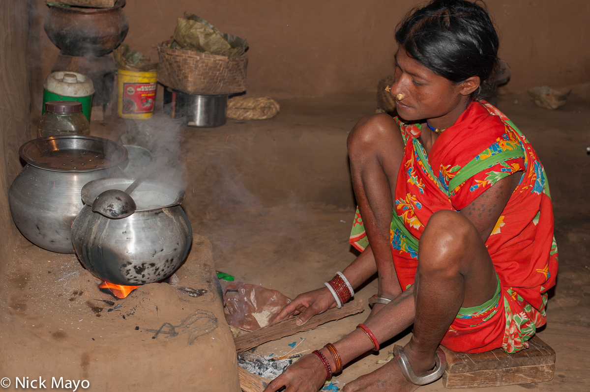 Anklet,Bracelet,Cooking,Gond,Hearth,India,Nose Stud,Orissa,Tattoo, photo