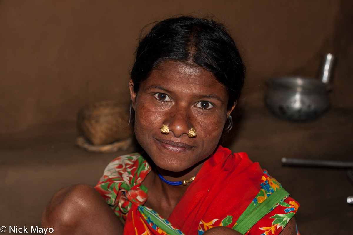 A Botra woman with traditional nose studs in the Gond village of Pajil.
