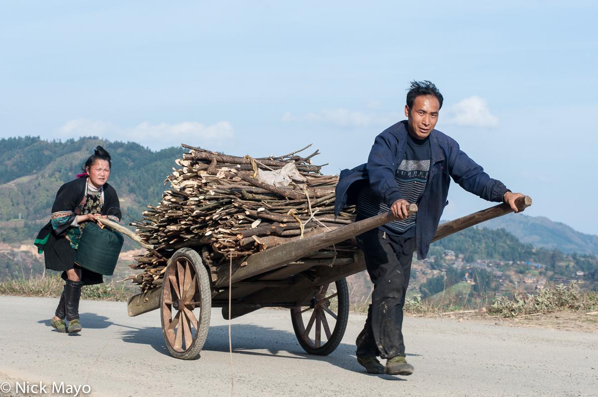 Cart,China,Firewood,Guizhou,Hair,Leggings,Miao, photo