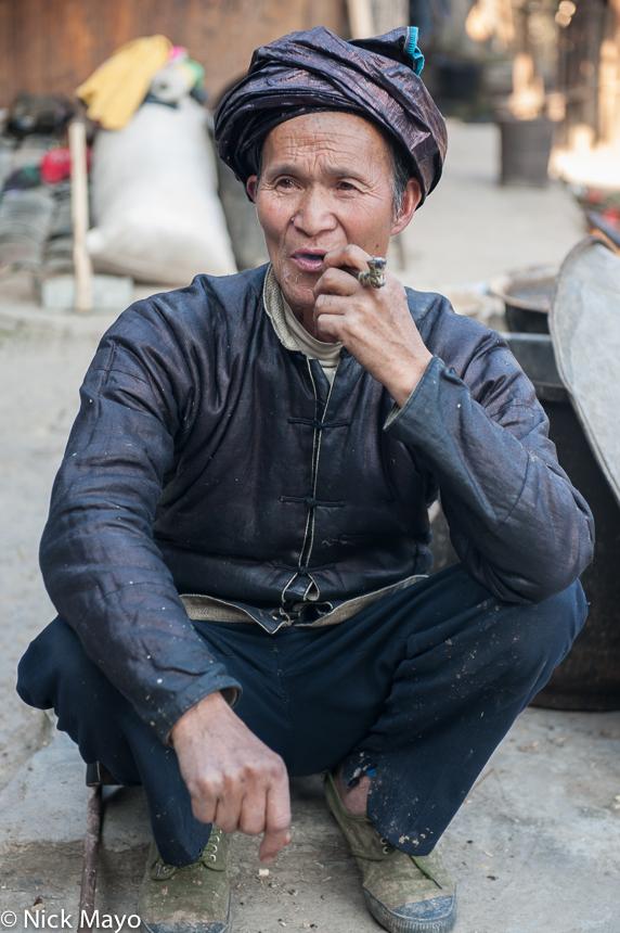 China,Dong,Guizhou,Pipe,Smoking,Turban, photo