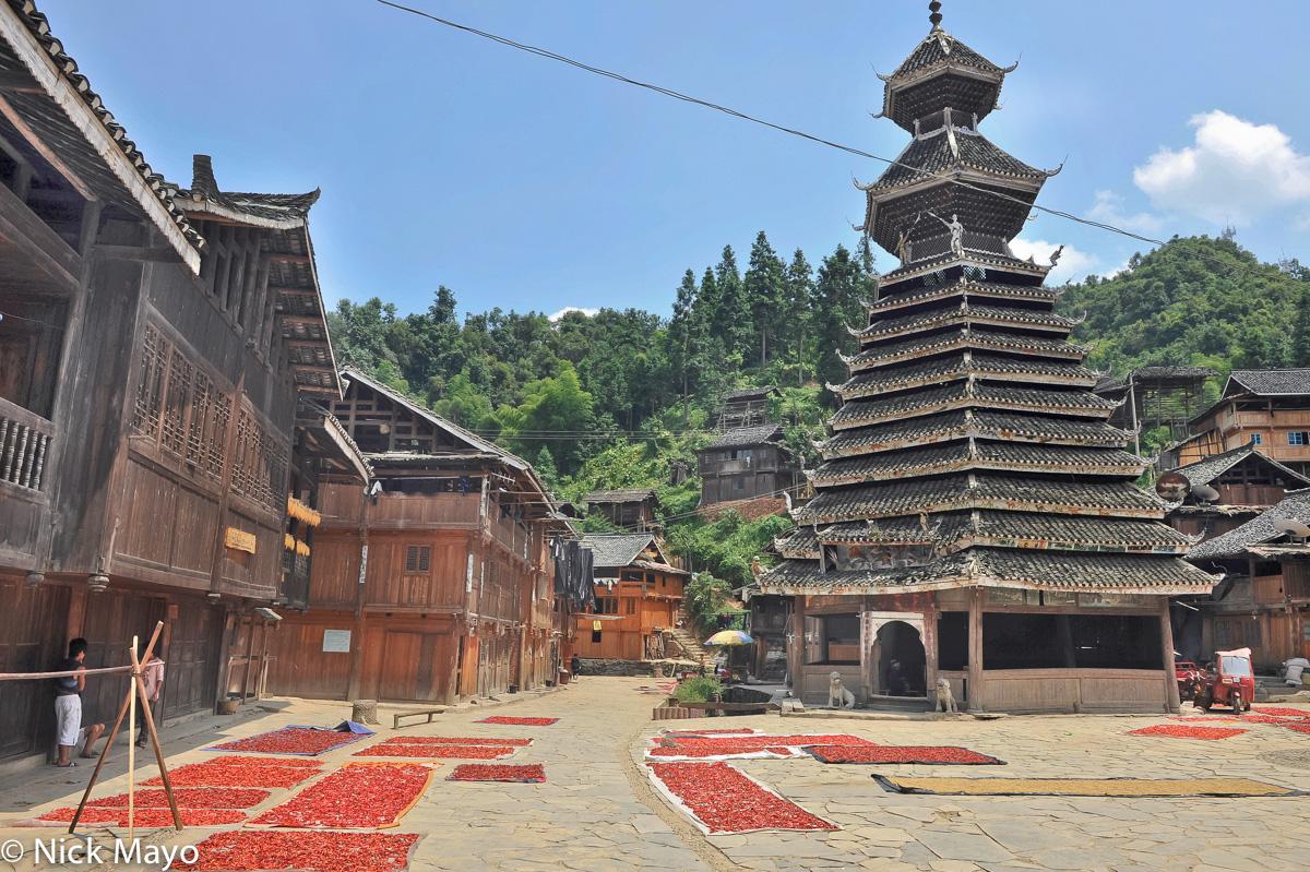 Chilli,China,Drum Tower,Drying,Guizhou,Residence, photo