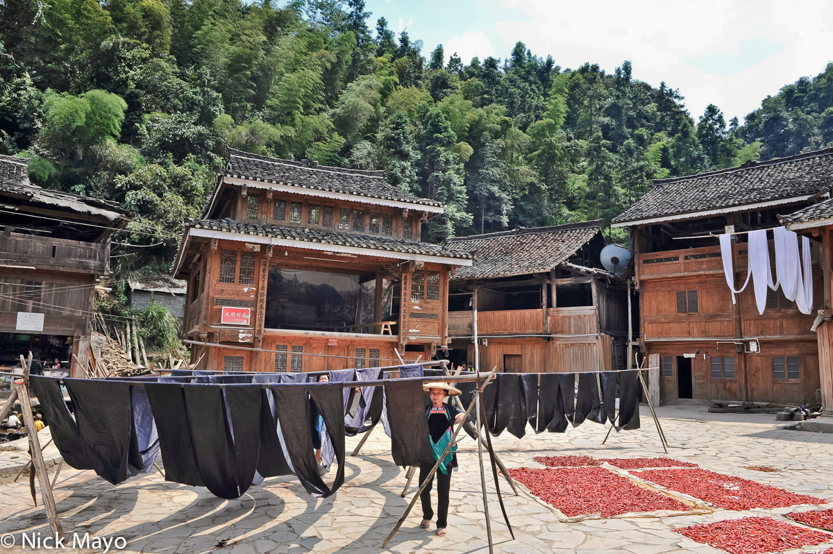Chili,China,Cloth Drying,Dong,Drying,Guizhou,Stage, photo