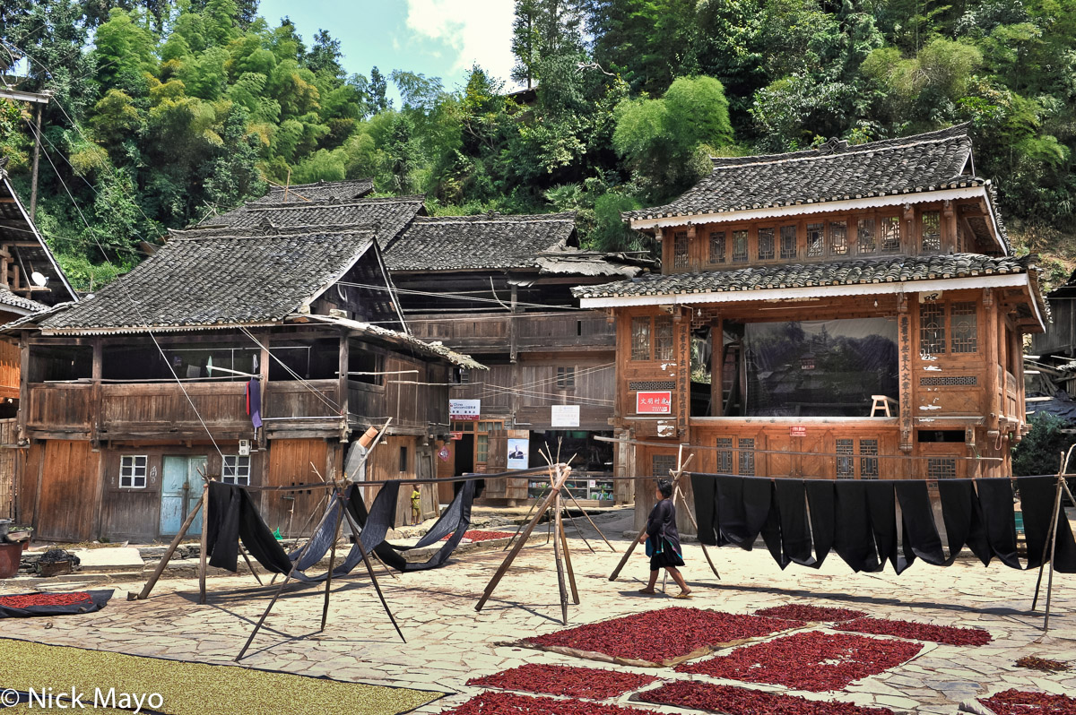 Chilli,China,Cloth Drying,Dong,Drying,Guizhou,Stage,Village, photo