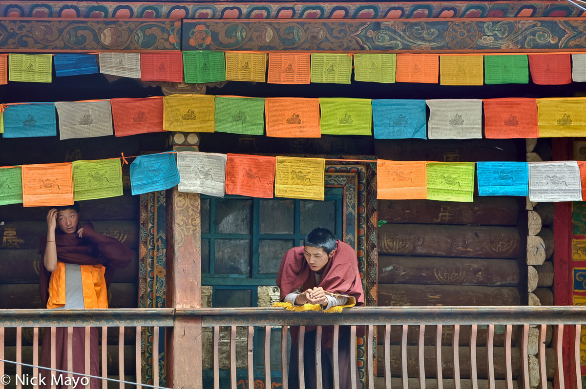 China,Monastery,Monk,Prayer Flag,Sichuan,Tibetan, photo