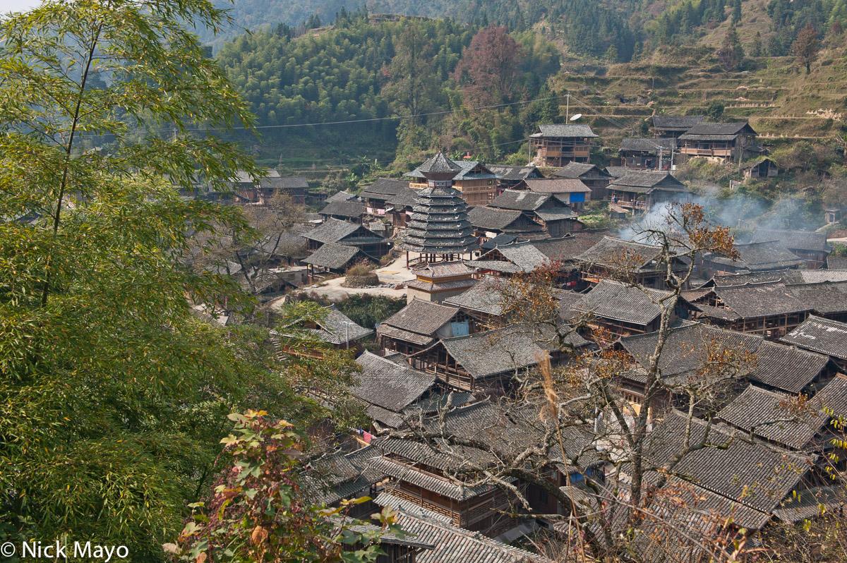 China,Drum Tower,Guizhou,Roof,Village, photo