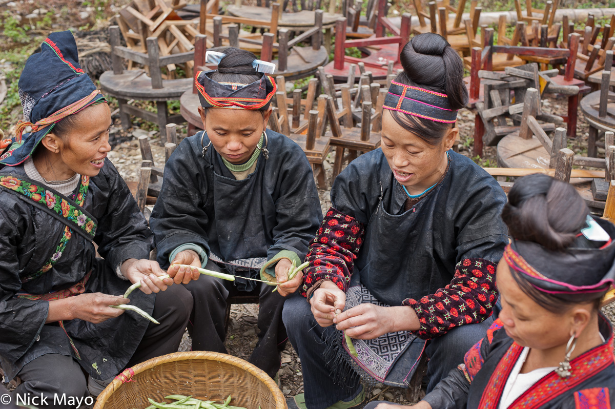 China,Earring,Guizhou,Hair,Head Band,Head Scarf,Miao,Preparing,Vegetable, photo