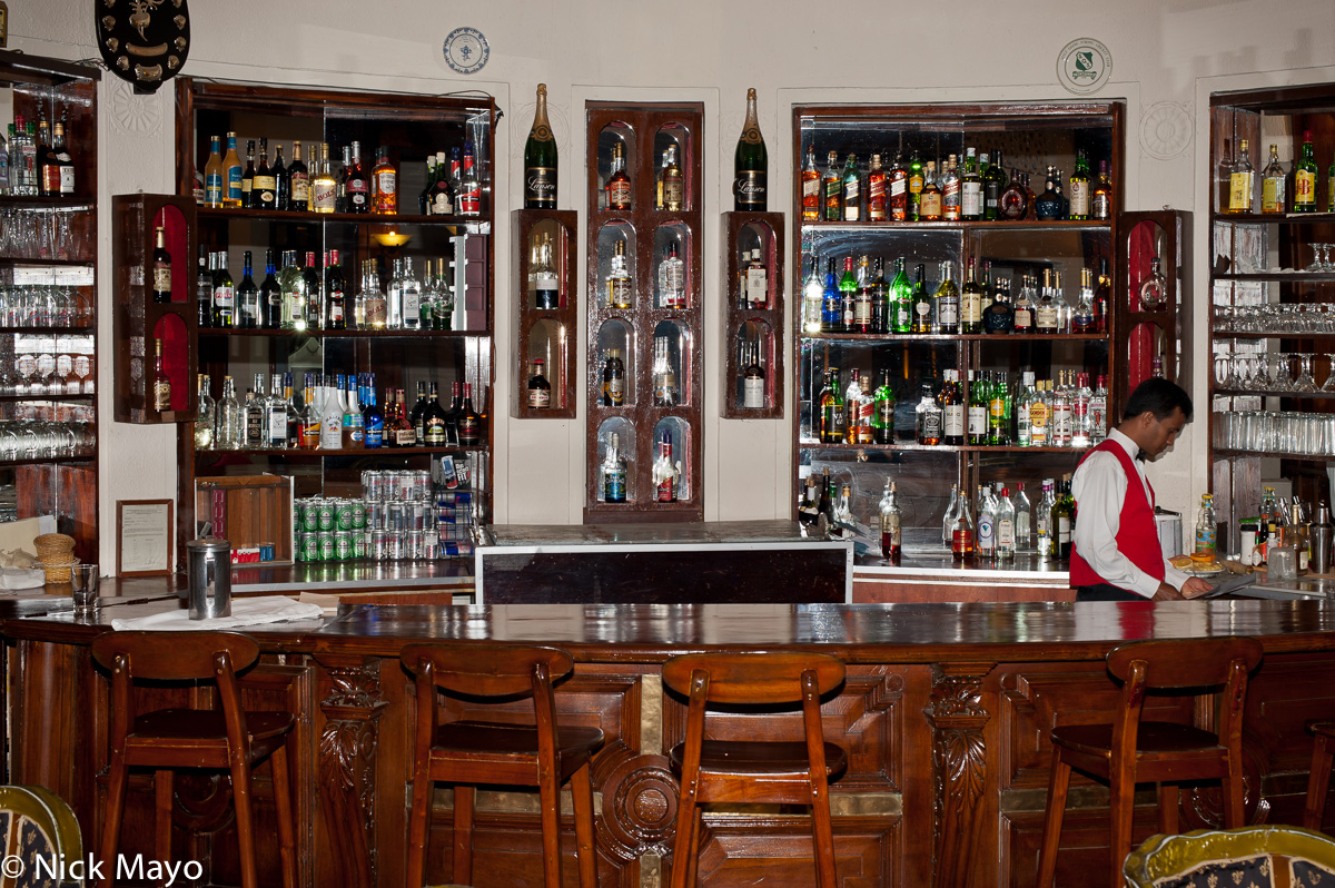 The colonial era bar at the Hotel Suisse in Kandy.
