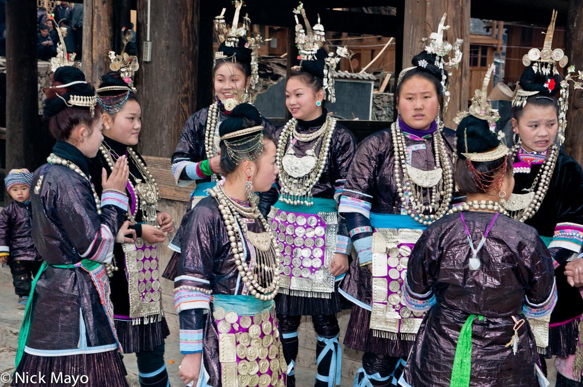 Apron,Breastpiece,China,Dong,Earring,Festival,Guizhou,Hair Piece,Leggings,Necklace, photo