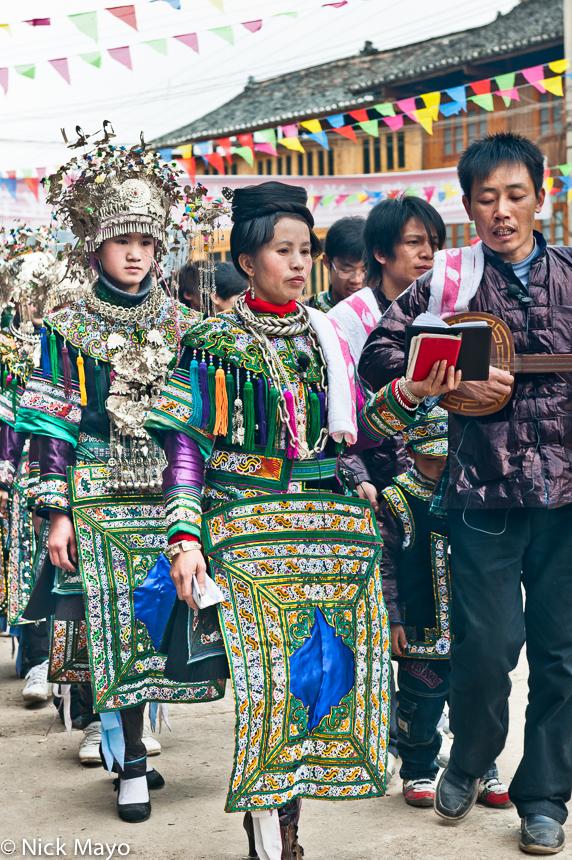 Apron,Breastpiece,China,Dong,Festival,Guizhou,Hair,Headdress,Stringed Instrument, photo