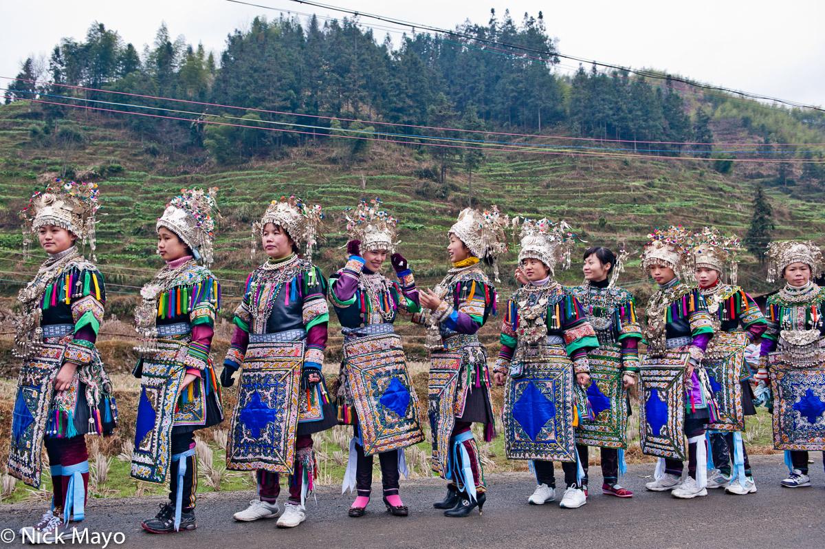 Apron,Breastpiece,China,Column,Dong,Guizhou,Headdress,Leggings,Necklace,Wedding, photo