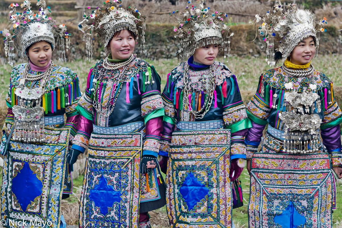 Apron,Breastpiece,China,Dong,Guizhou,Headdress,Necklace,Wedding, photo