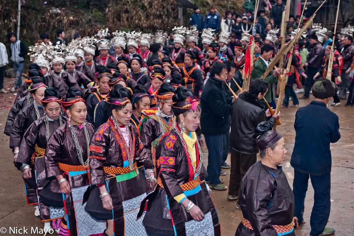 Apron,China,Circling,Earring,Festival,Guizhou,Headdress,Miao,Necklace,Piping, photo