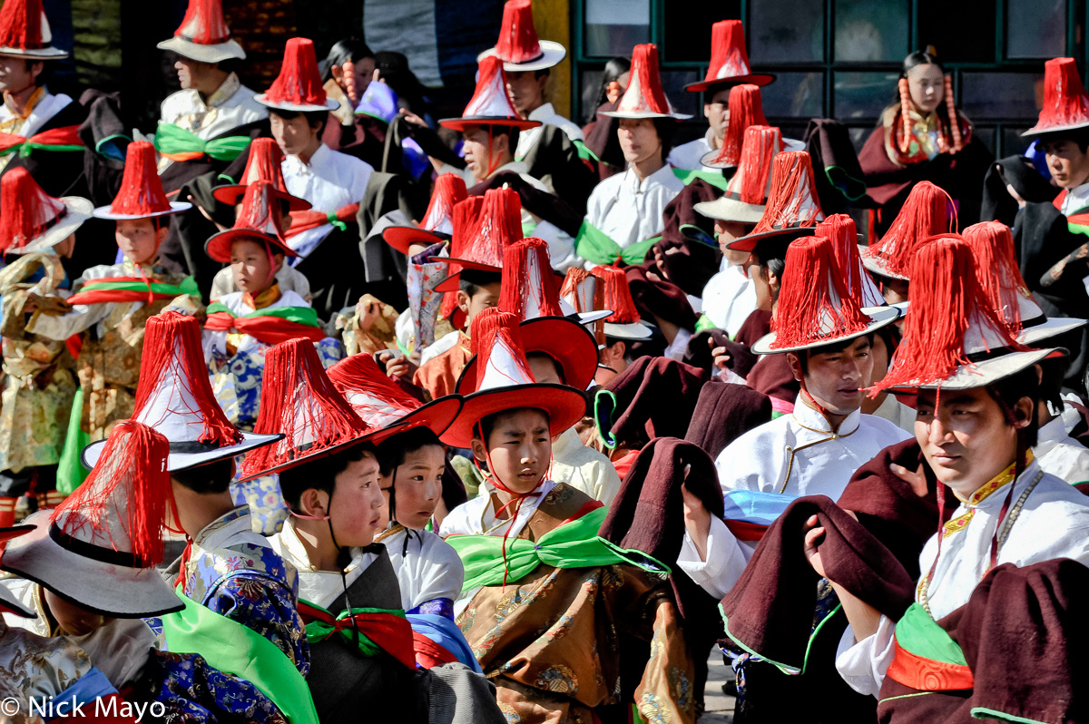 China,Festival,Hat,Procession,Qinghai,Tibetan, photo