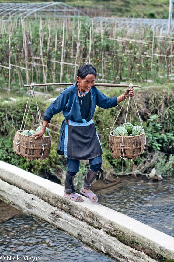Apron,China,Dong,Guizhou,Leggings,Shoulder Pole,Water Melon, photo