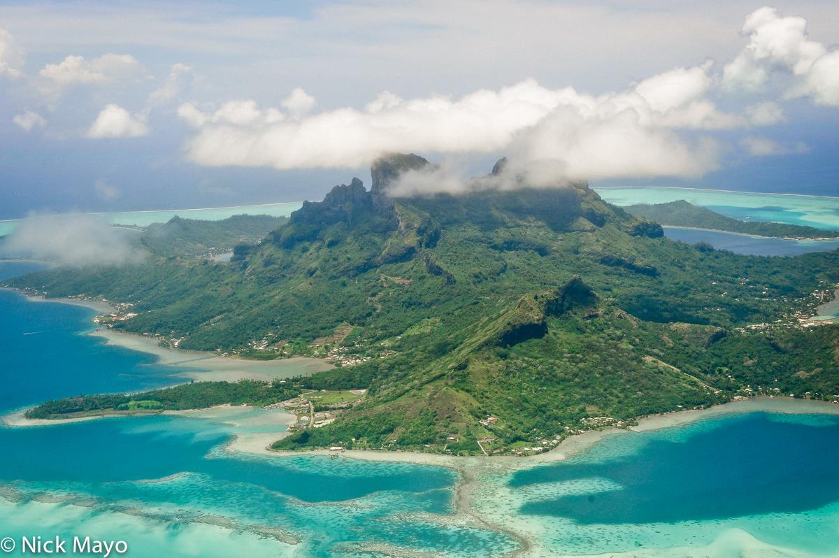 The island of Bora Bora and its surrounding lagoon.