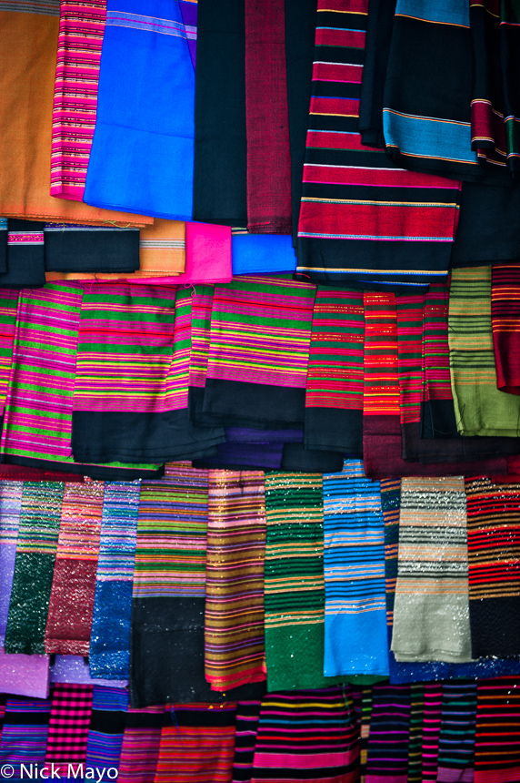 Cloth for sale in Kengtung market.