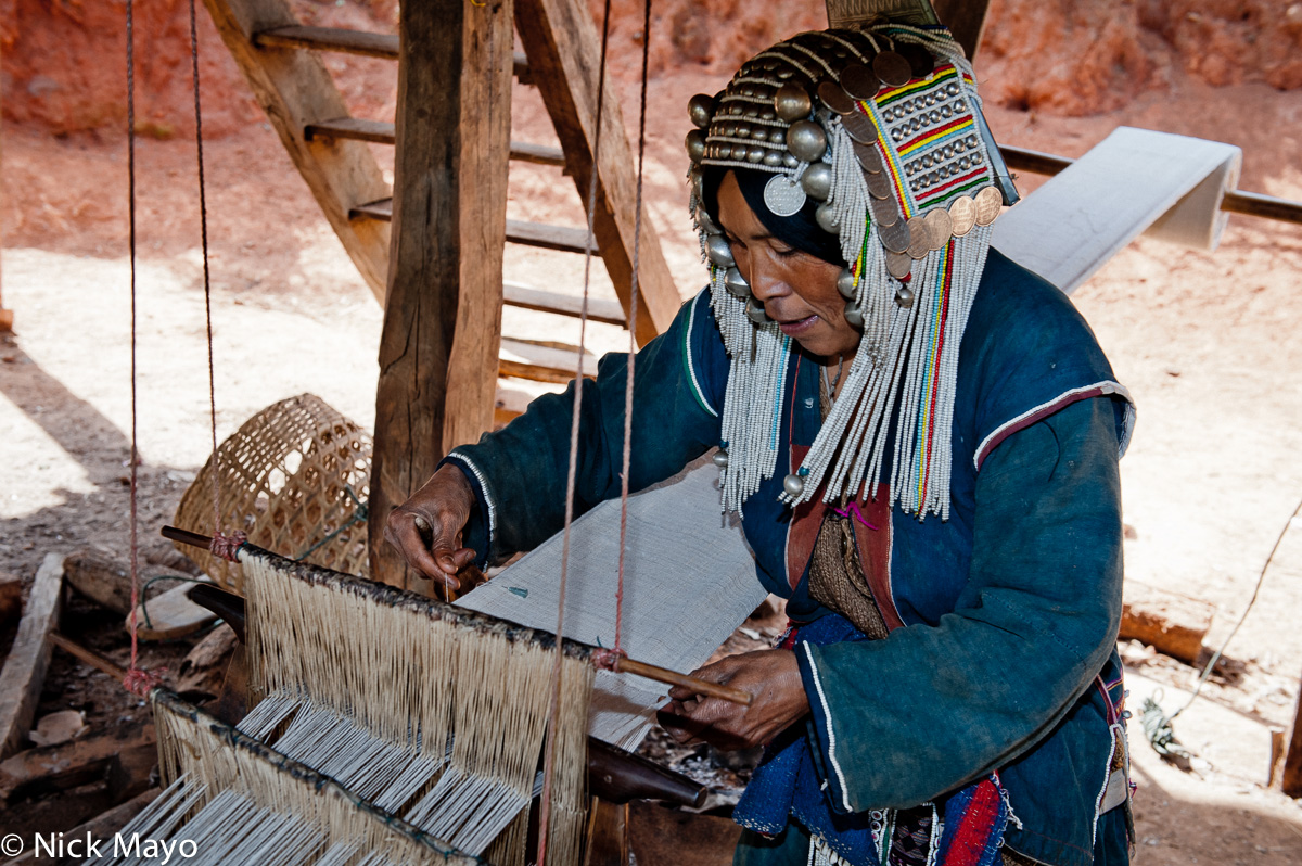 Burma,Foot Treadle Loom,Hani,Headdress,Shan State,Weaving, photo