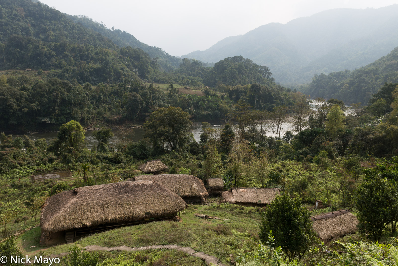 The thatched village of Thumbin in the Siyom valley.