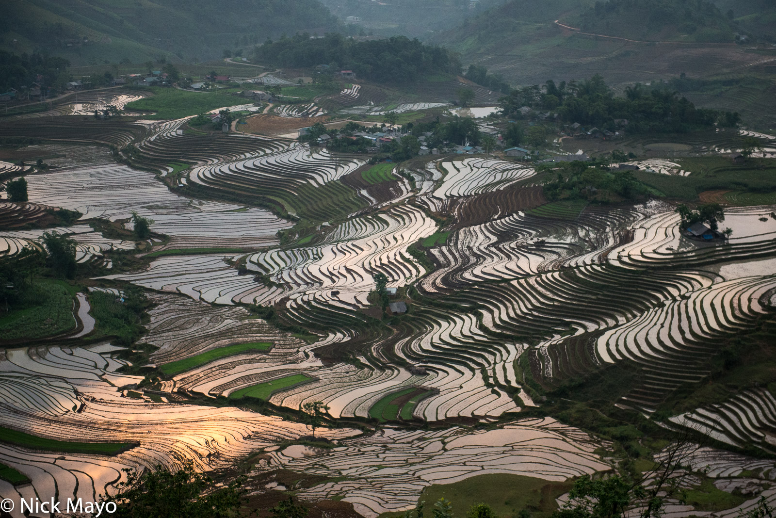 Flooded terraces used for paddy rice cultivation at Sang Ma So at sunrise.