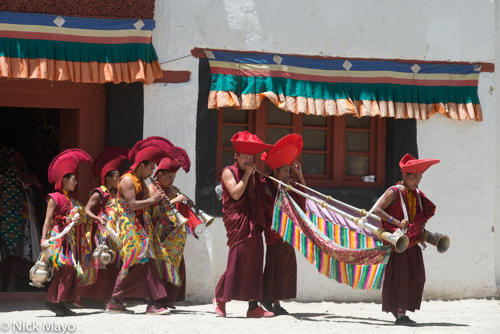 Censer, Festival, Horn, India, Jammu & Kashmir, Monk, photo