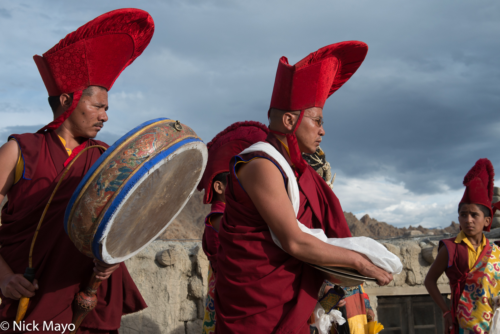One monk with a drum and a second with cymbals at the conclusion of the annual Phyang Tserup.