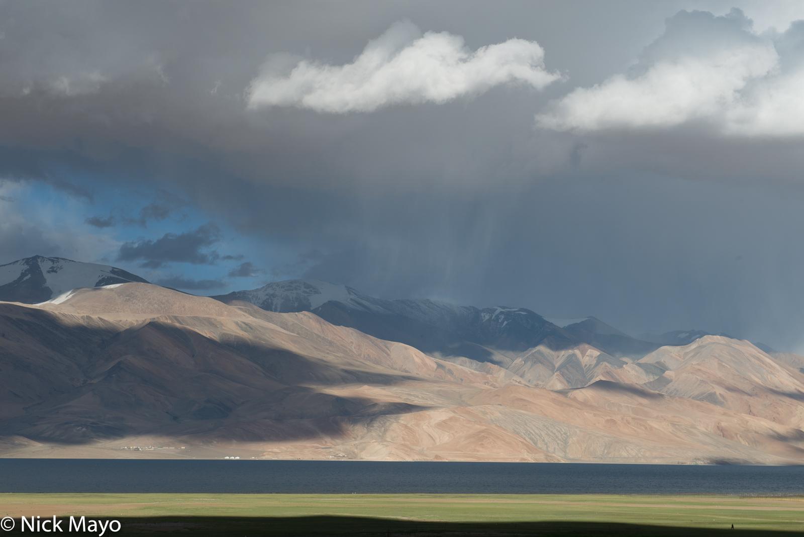 A summer rain squall at Tso Moriri lake as seen from Korzok.