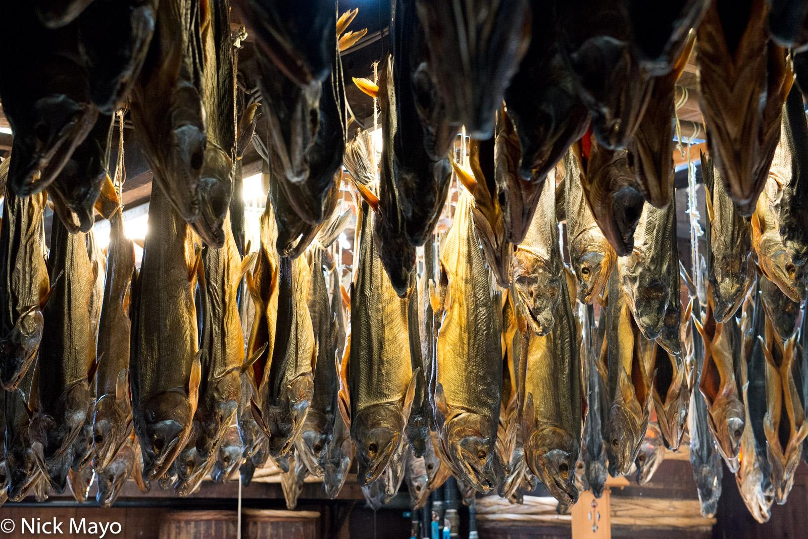 Salmon hung to dry at the famous Kikkawa shop in Murakami.