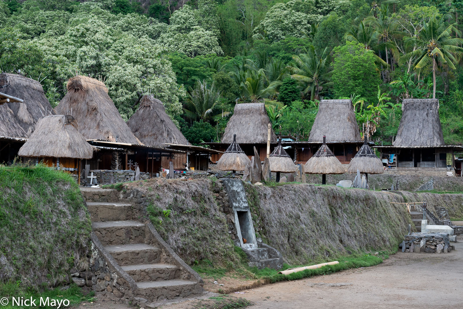 Animist Shrine, Flores, Indonesia, Roof, Thatch, Village, photo