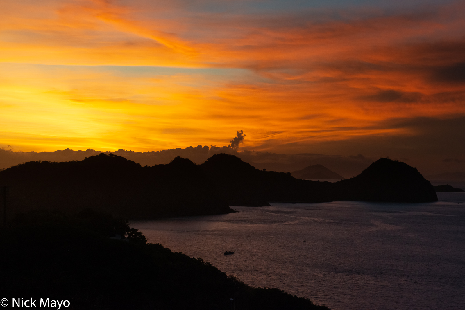 Sunset over the coastline of Labuan Bajo in West Manggarai Regency.