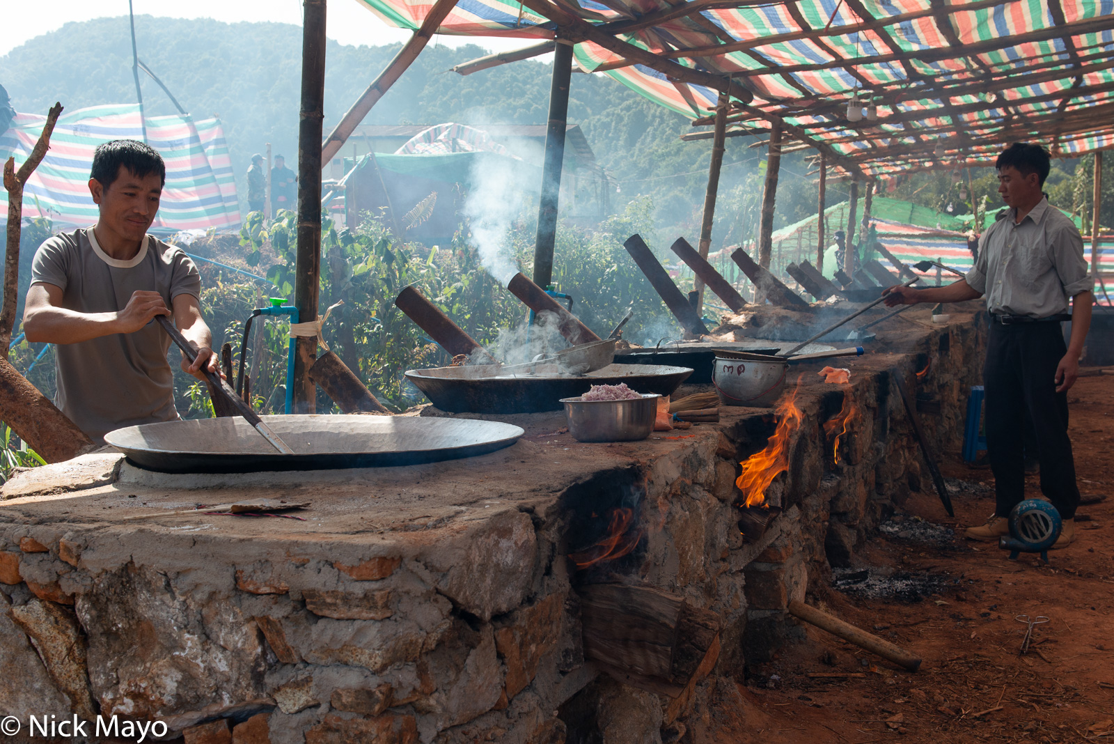 Burma, Cooking, Festival, Lisu, Mandalay Division, Wok, photo
