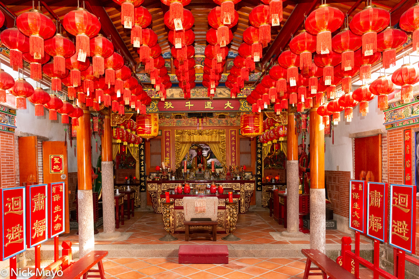 Interior of the temple at Zhushan village on Kinmen.