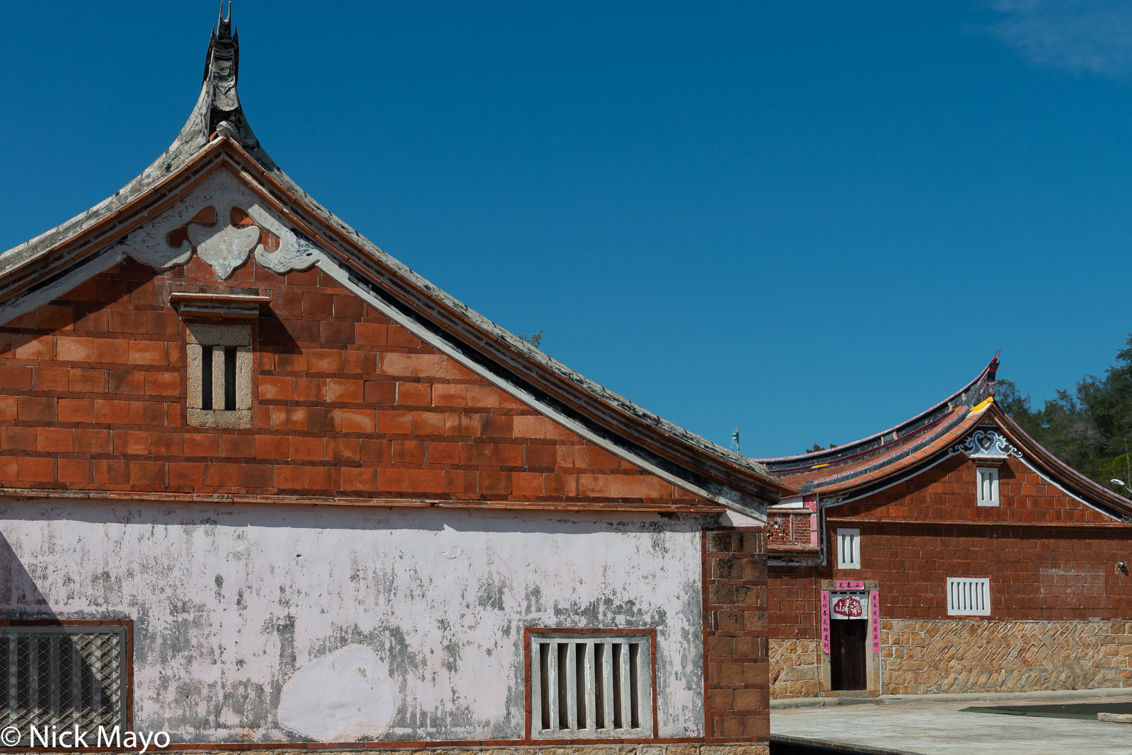 Traditional Minnan houses with their distinctive roofs in Xiaojing village on Kinmen.