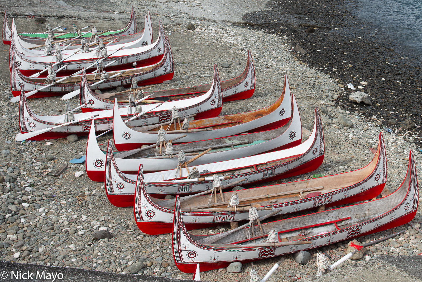Traditional Tao canoes on a Lanyu beach.
