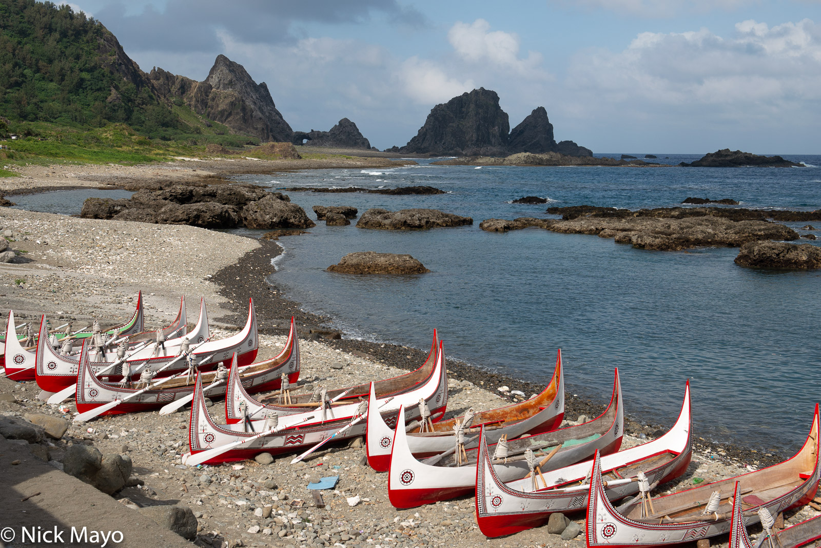Traditional Tao canoes at Hongtou village on Lanyu.
