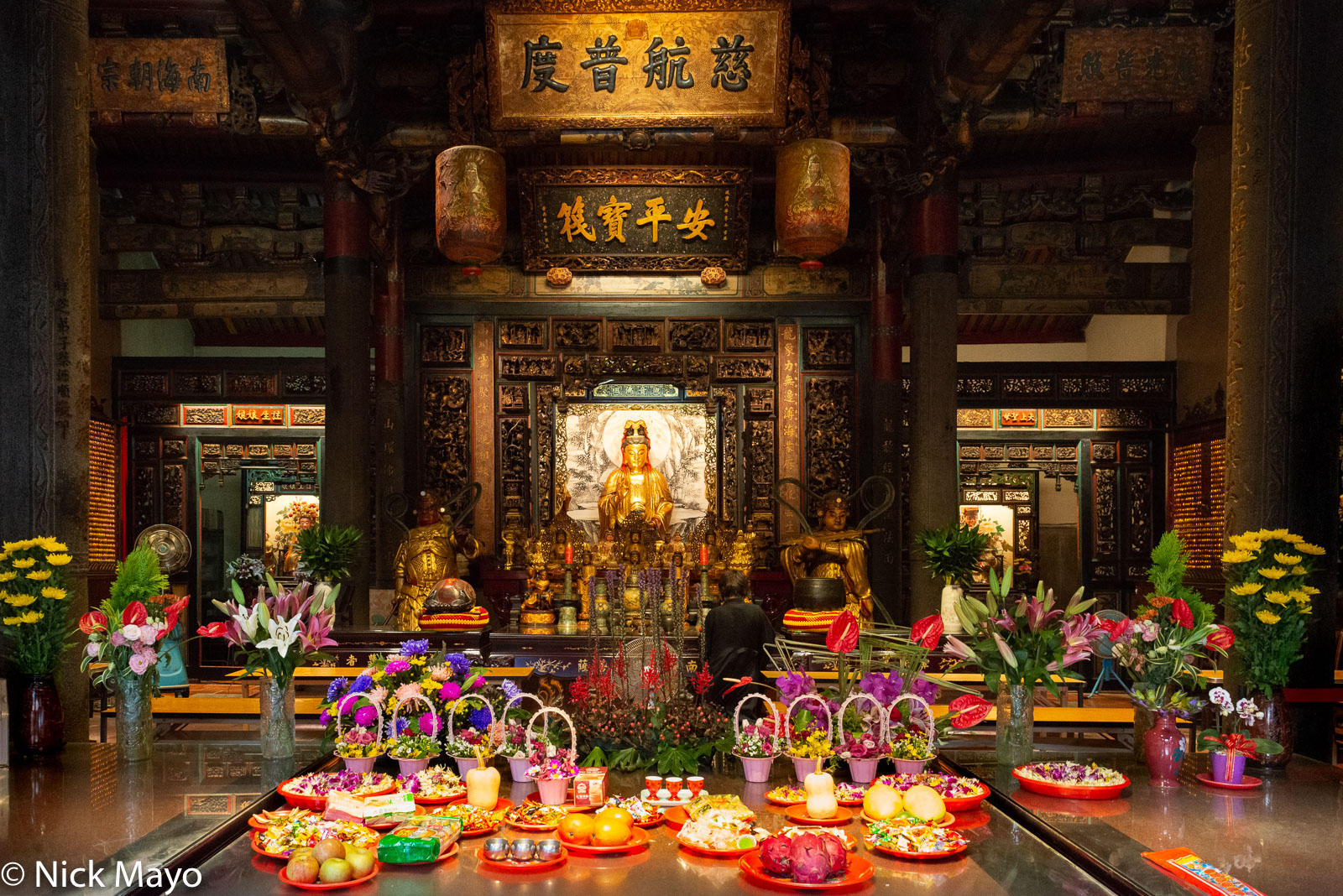 Offerings at the Tamsui Longshan temple built in 1858.