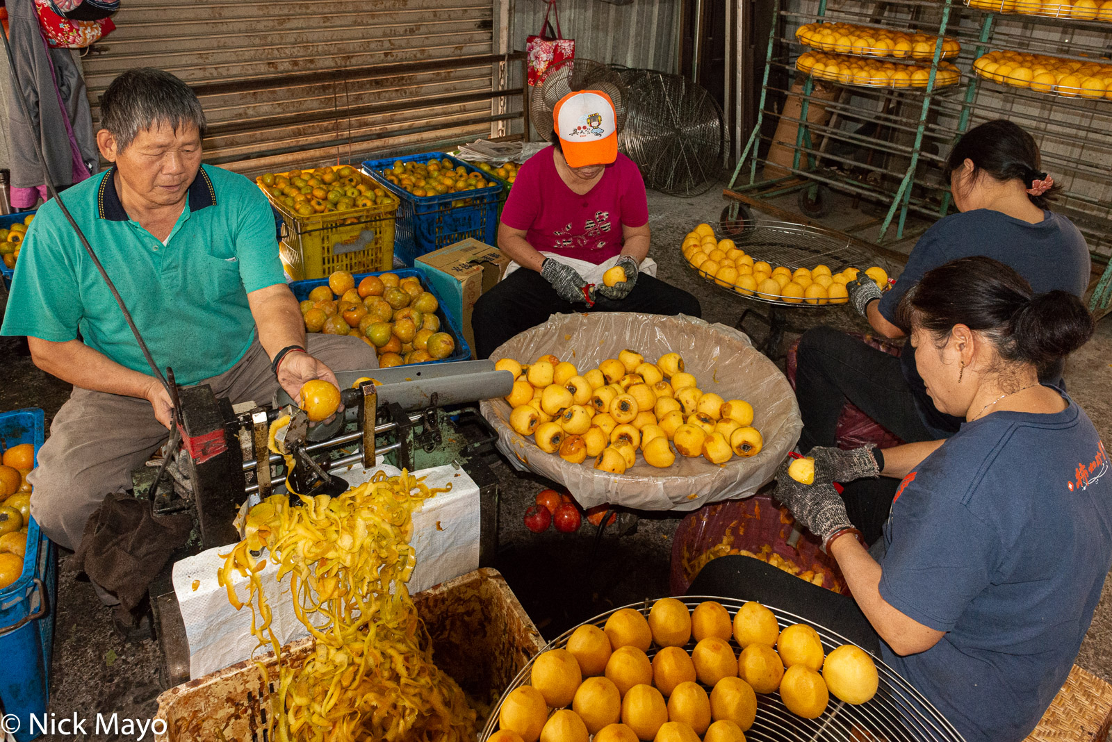 Workers peeling and coring persimmons at a farm outside Xinpu in Hsinchu County.