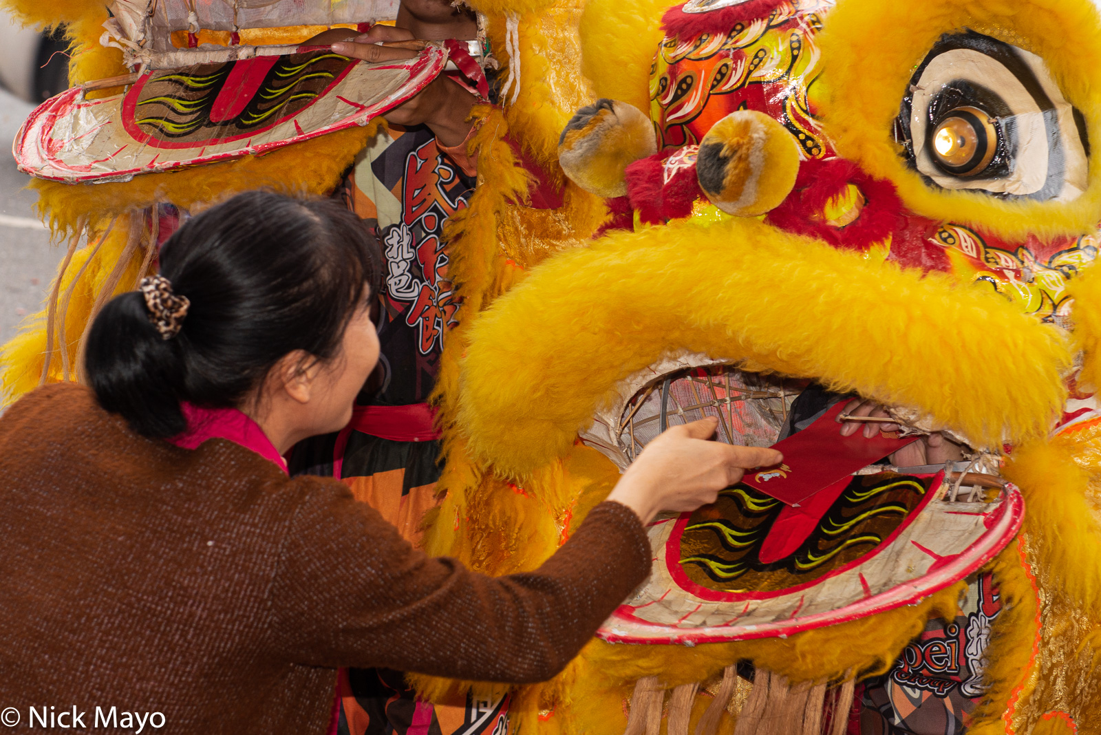 An offering of a red envelope with money inside being handed to a lion dancer through the mouth of his costume in an event organized...