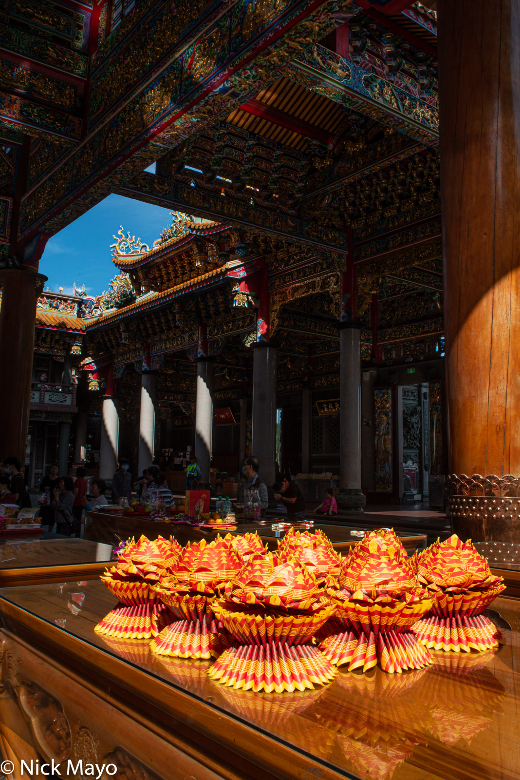 Paper offerings set out at the Zhulinshan Guanyin temple at Linkou.